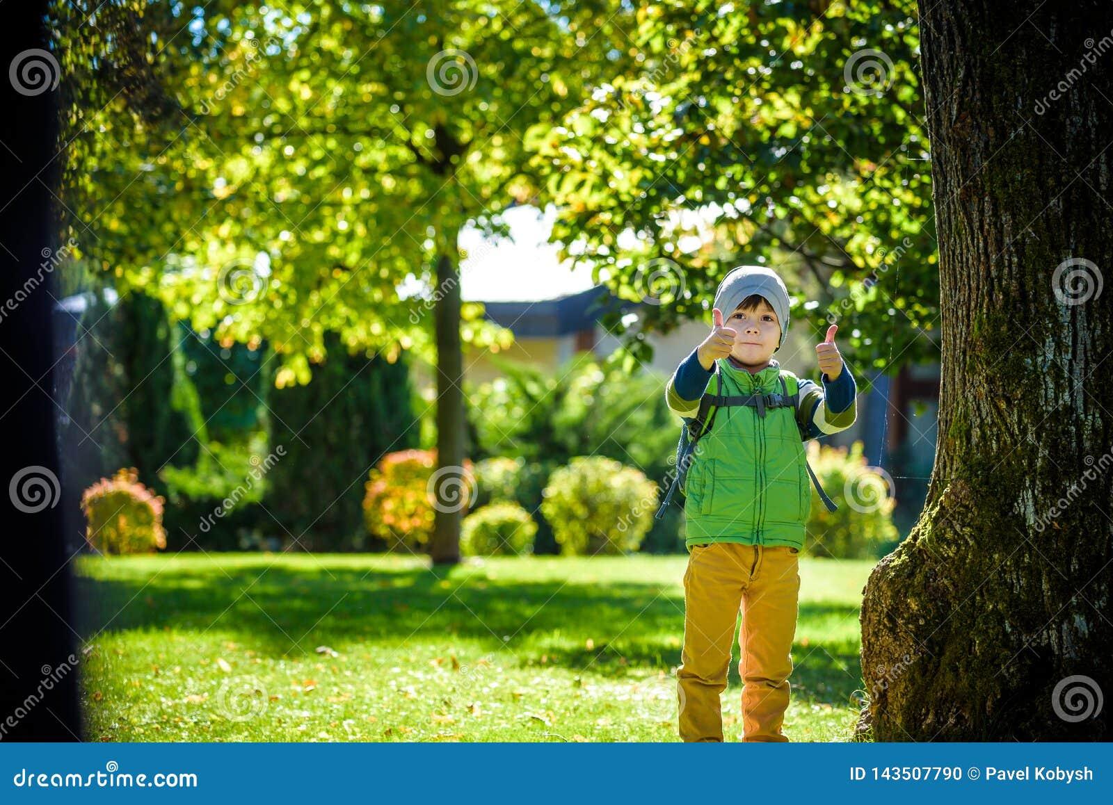Portret die van jong jong geitje en in het park lopen glimlachen