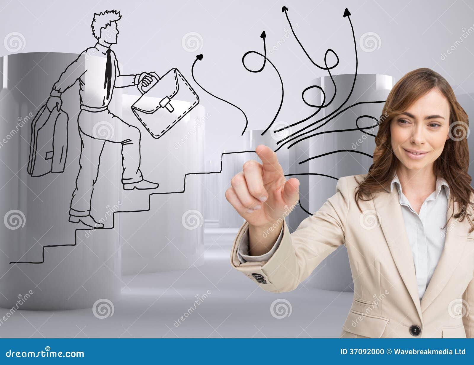 Download Portret Dotyka Niewidzialnego Ekran Bizneswoman Zdjęcie Stock - Obraz złożonej z ubierający, charcica: 37092000