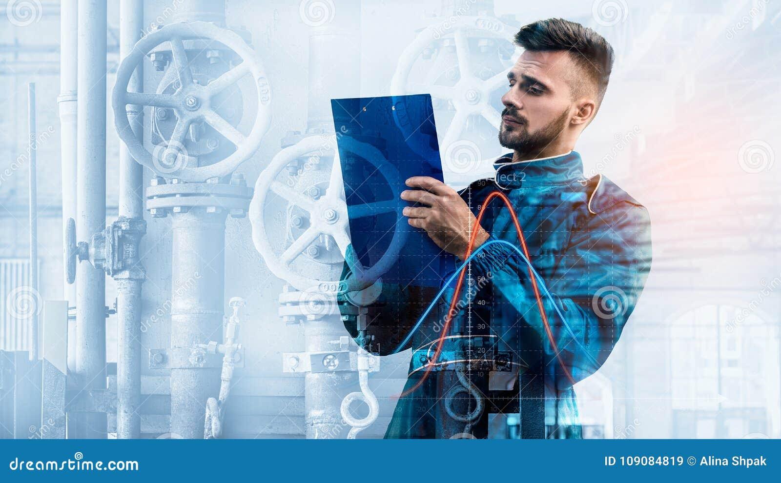 Portret kierownik na fabrycznym tle