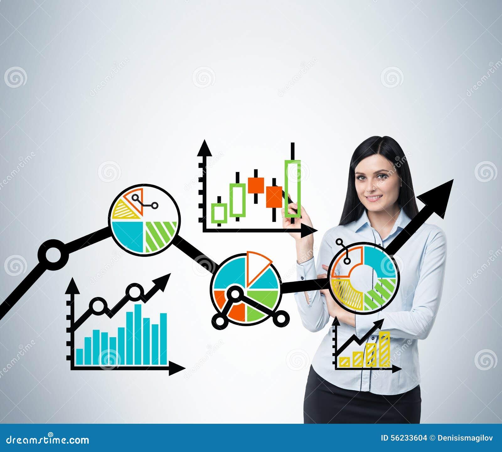 Portret kobieta która wskazuje out biznesowego optimisation plan Colourful plan rozwój biznesu na szkle s