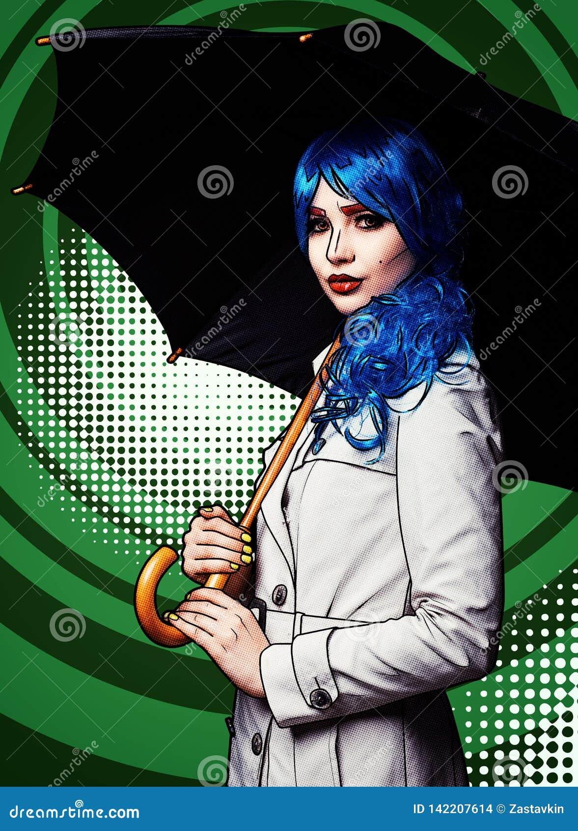 Portret młoda kobieta w komicznym wystrzał sztuki makijażu stylu Kobieta z parasolem na zielonym kreskówki tle
