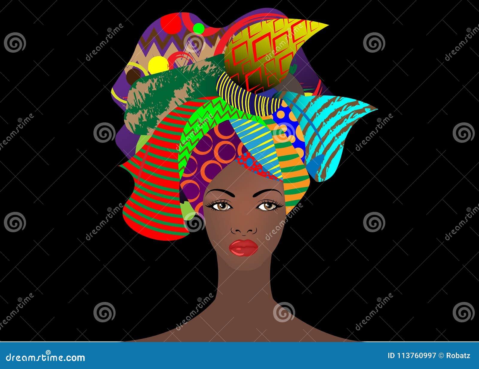 Portret młoda Afrykańska kobieta w kolorowym turbanie Opakunku Afro moda, Ankara, Kente, kitenge, Afrykańskie kobiety ubiera zwie