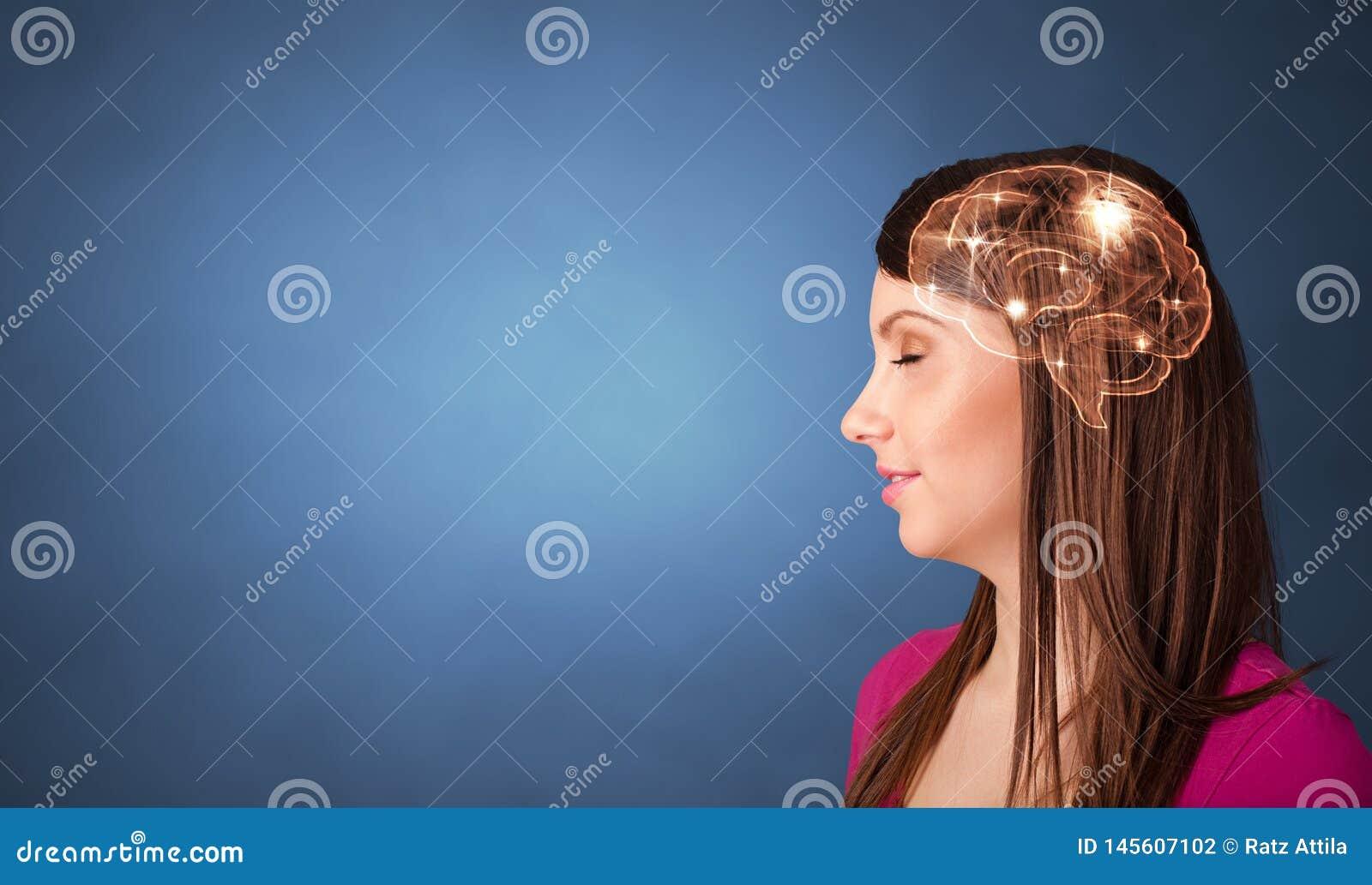 Portret met hersenen en brainstormingsconcept