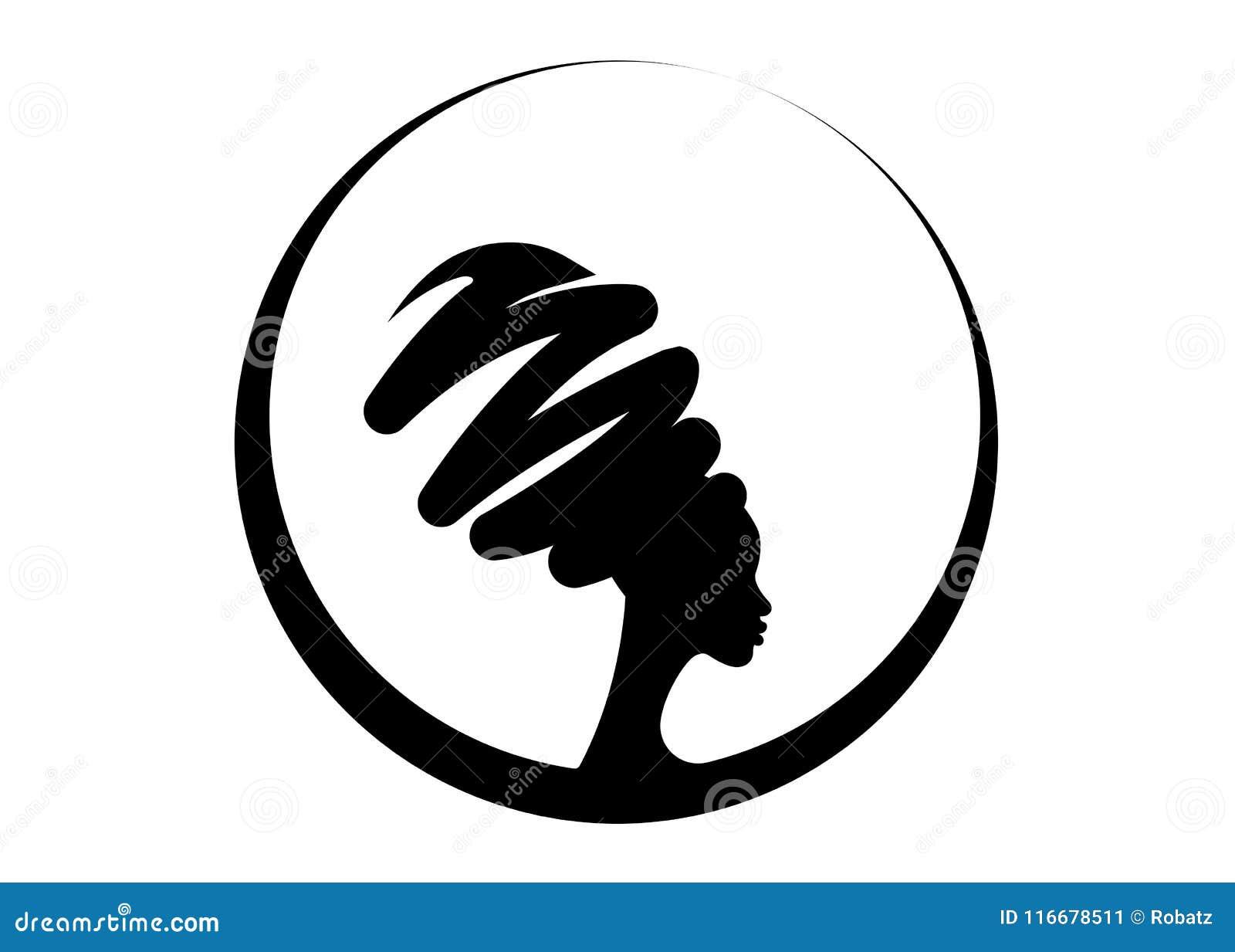 Portret mooie Afrikaanse vrouw in traditionele tulband, geïsoleerd zwartensilhouet, kapselconcept