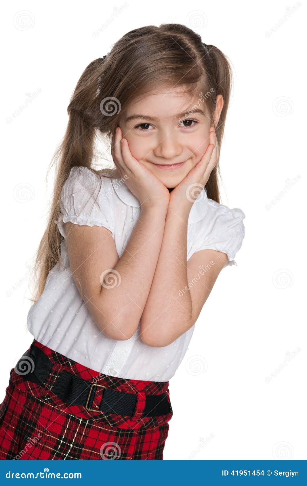 Portret nieśmiała mała dziewczynka
