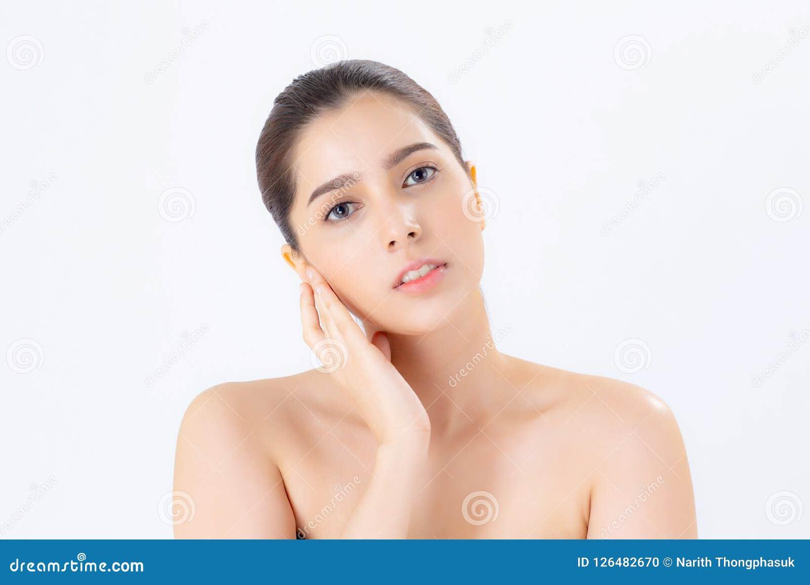 Portret pięknej kobiety azjatykci makeup kosmetyk, dziewczyny ręka