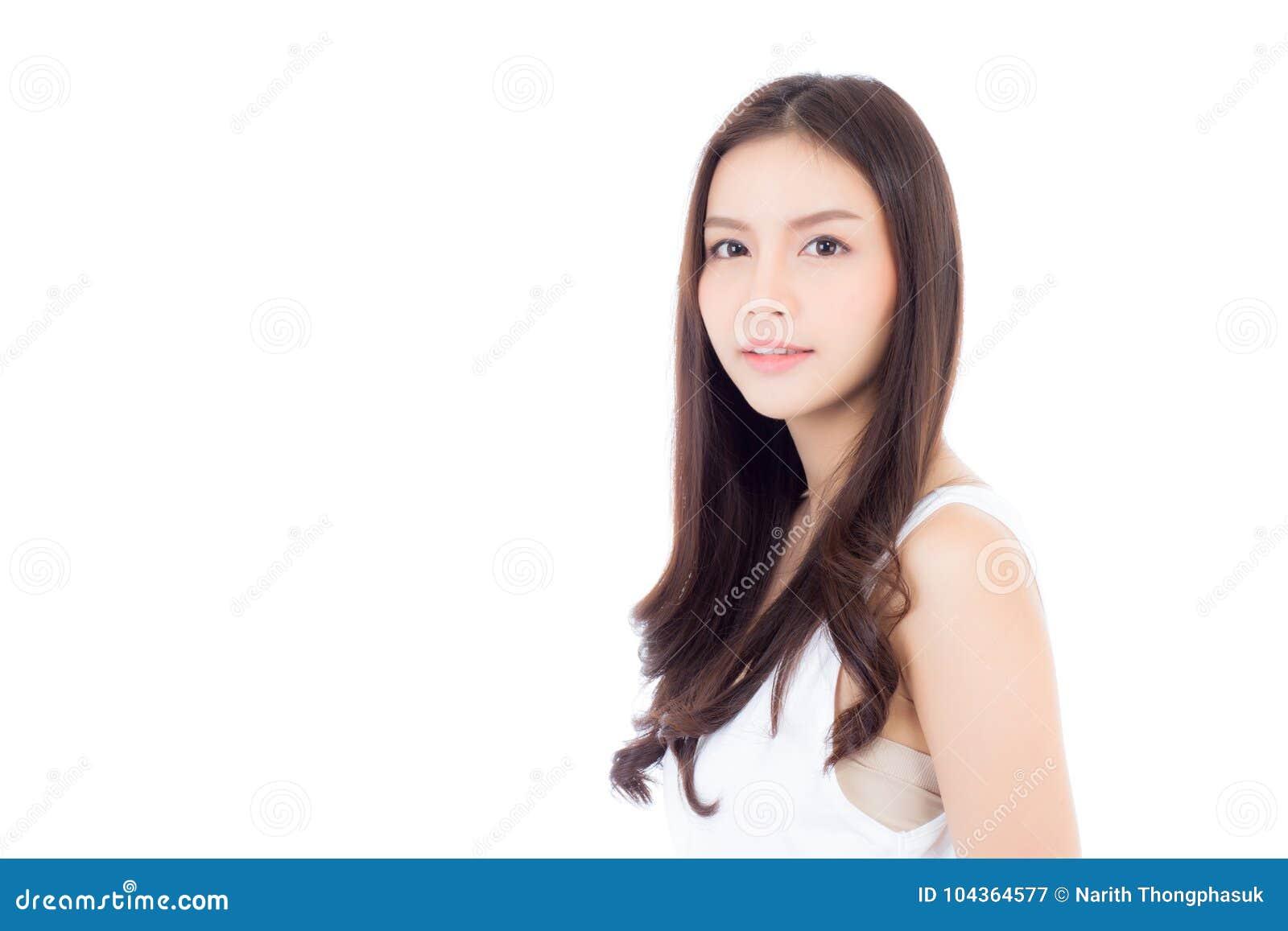 Portret piękny azjatykci kobiety makeup kosmetyk, dziewczyna z uśmiechem