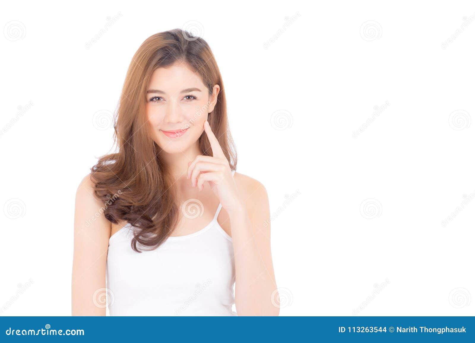 Portret piękny azjatykci kobiety makeup kosmetyk - dziewczyny ręki dotyka uśmiech na atrakcyjnej twarzy z skóry opieką zdrowotną