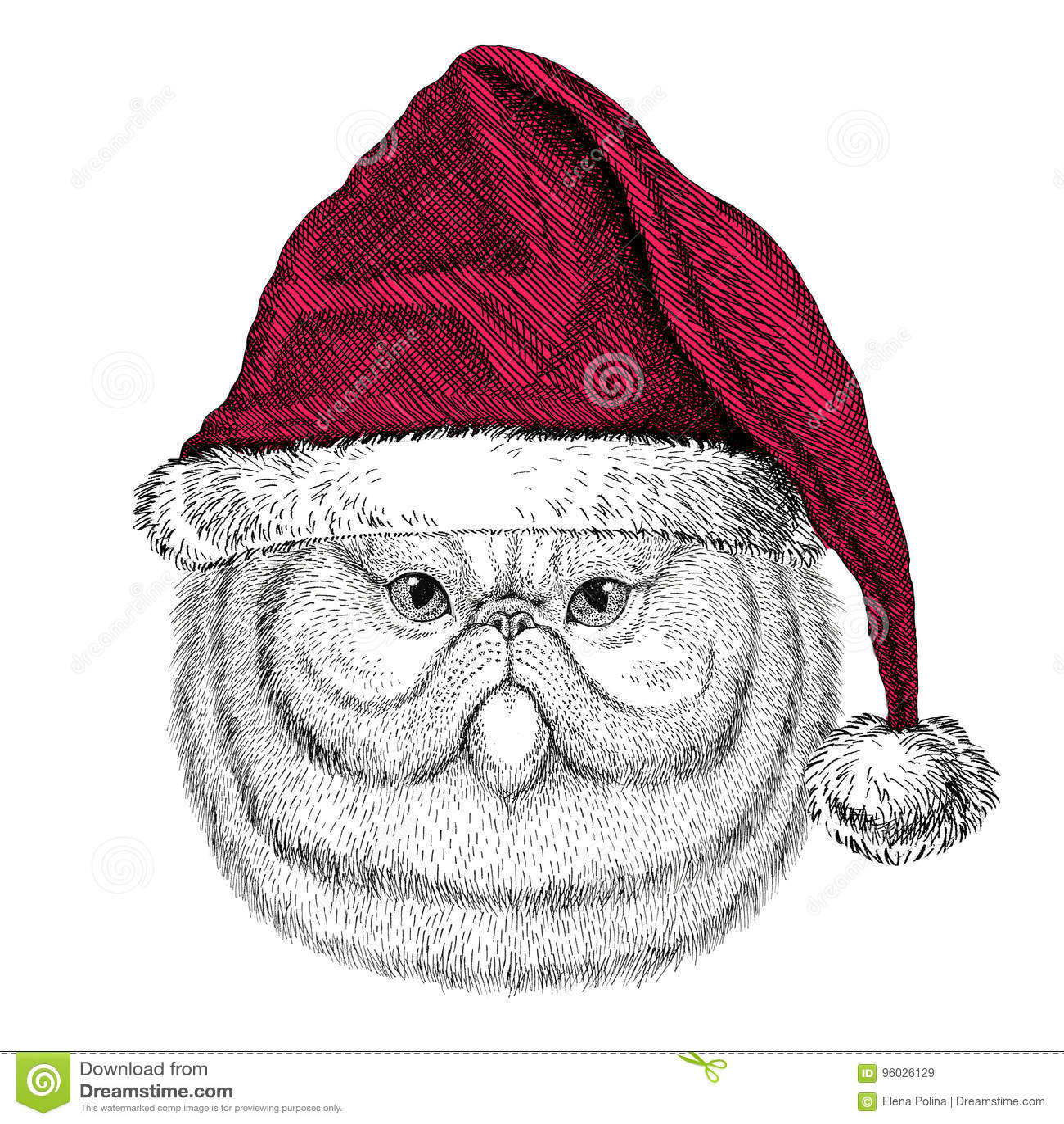 Portret puszysty perskiego kota Bożenarodzeniowy ilustracyjny dzikie zwierzę jest ubranym bożego narodzenia Santa Claus zimy kape