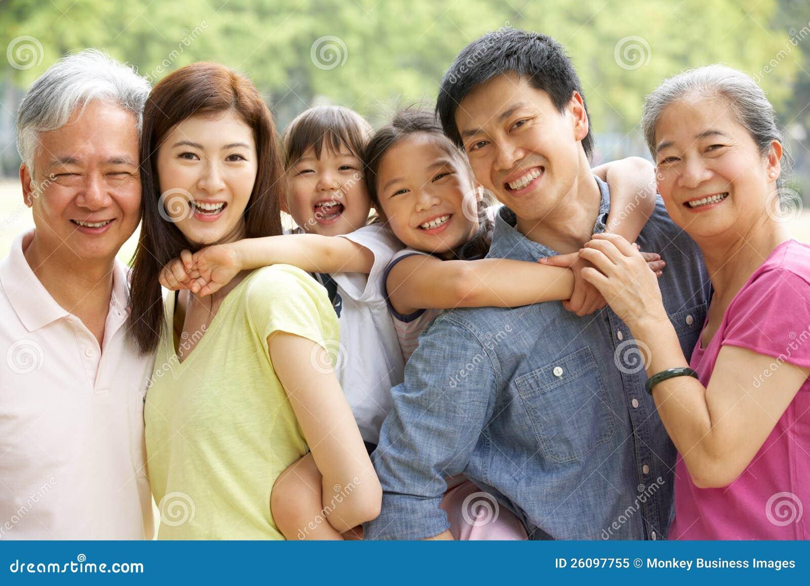 Portret rodzina Chińska Rodzina