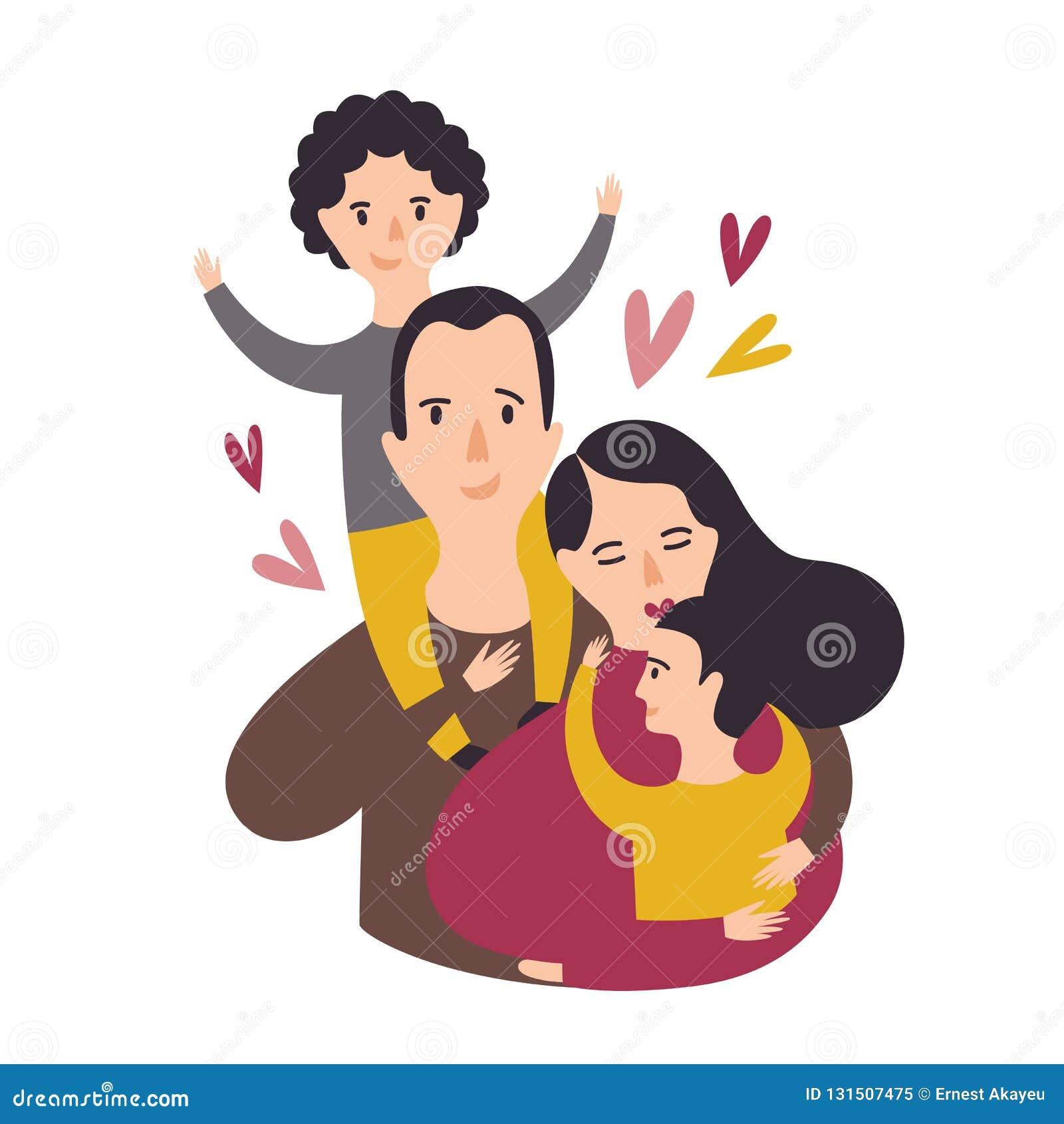 Portret szczęśliwa kochająca rodzina Uśmiechnięty tata, mama i dwa syna, Radosny ojciec, matka i para dzieciaki, Rodzice i