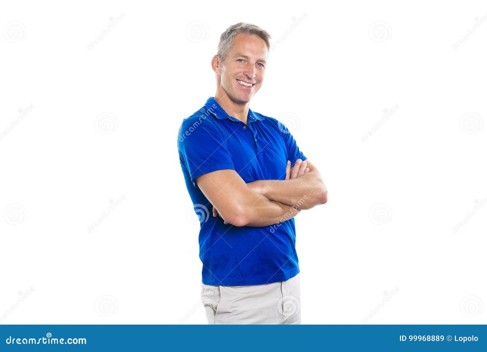 Portret ufny dorośleć mężczyzna pozycję na białym tle