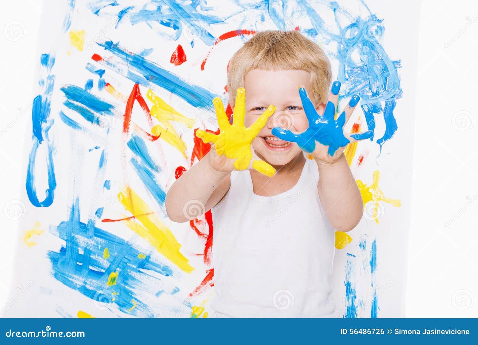 Portret upaćkany dzieciaka malarz troszkę szkoła preschool Edukacja twórczość
