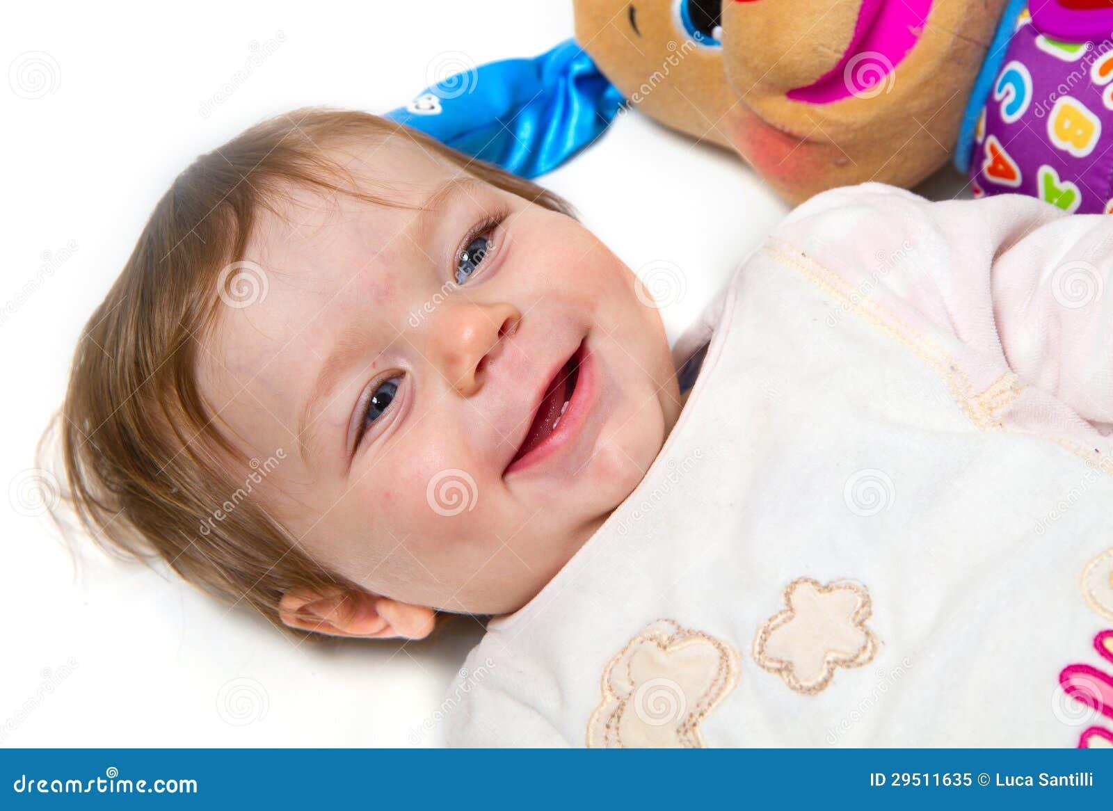 Portret van aanbiddelijke baby