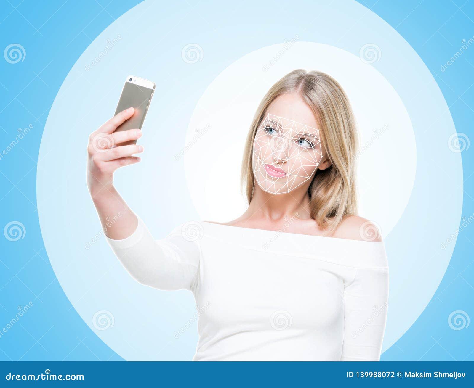 Portret van aantrekkelijke vrouw met een scnanning net op haar gezicht Gezichtsidentiteitskaart, veiligheid, gezichtserkenning, t