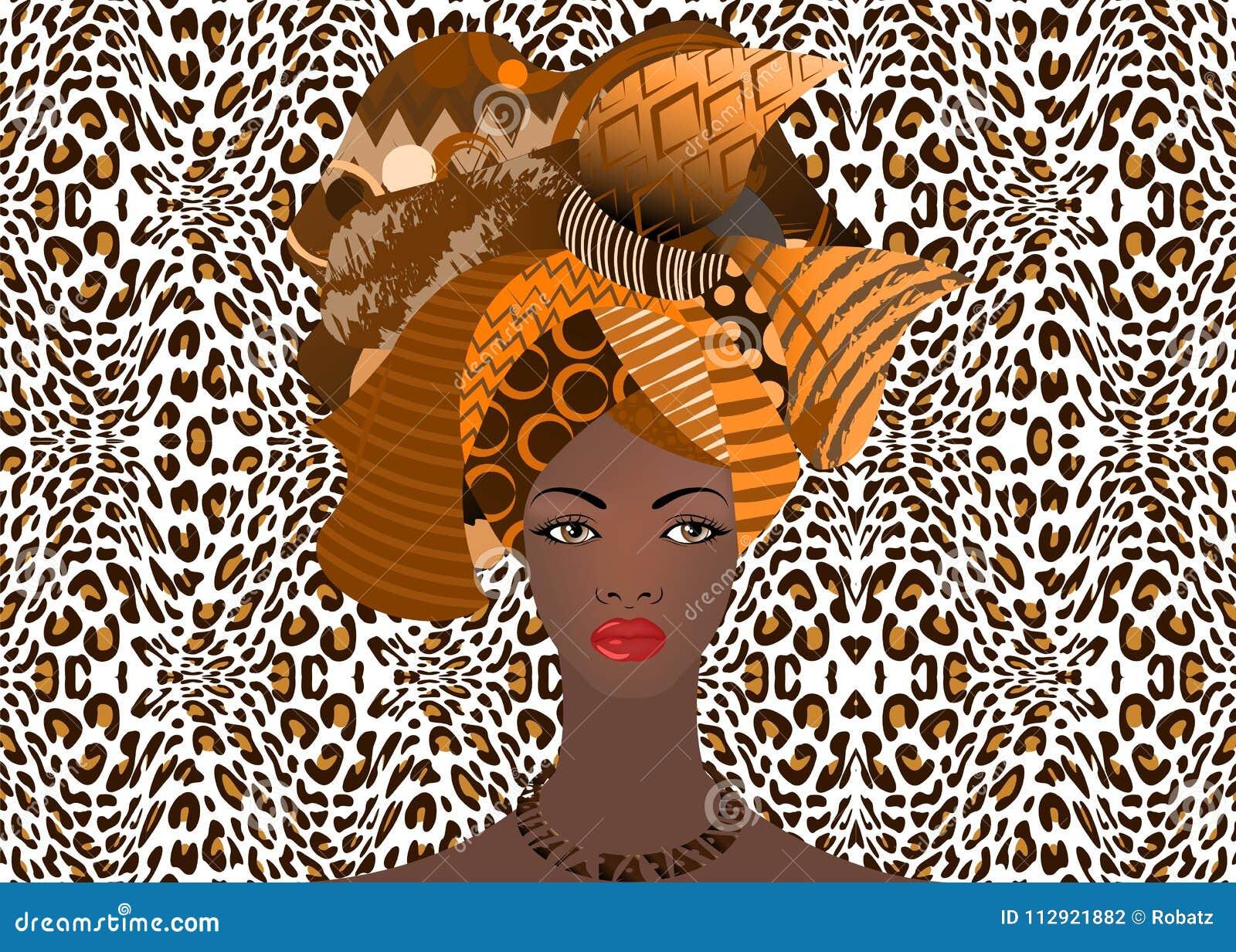 Portret van de jonge Afrikaanse vrouw in een kleurrijke tulband De manier van omslagafro, Ankara, Kente, kitenge, Afrikaanse vrou