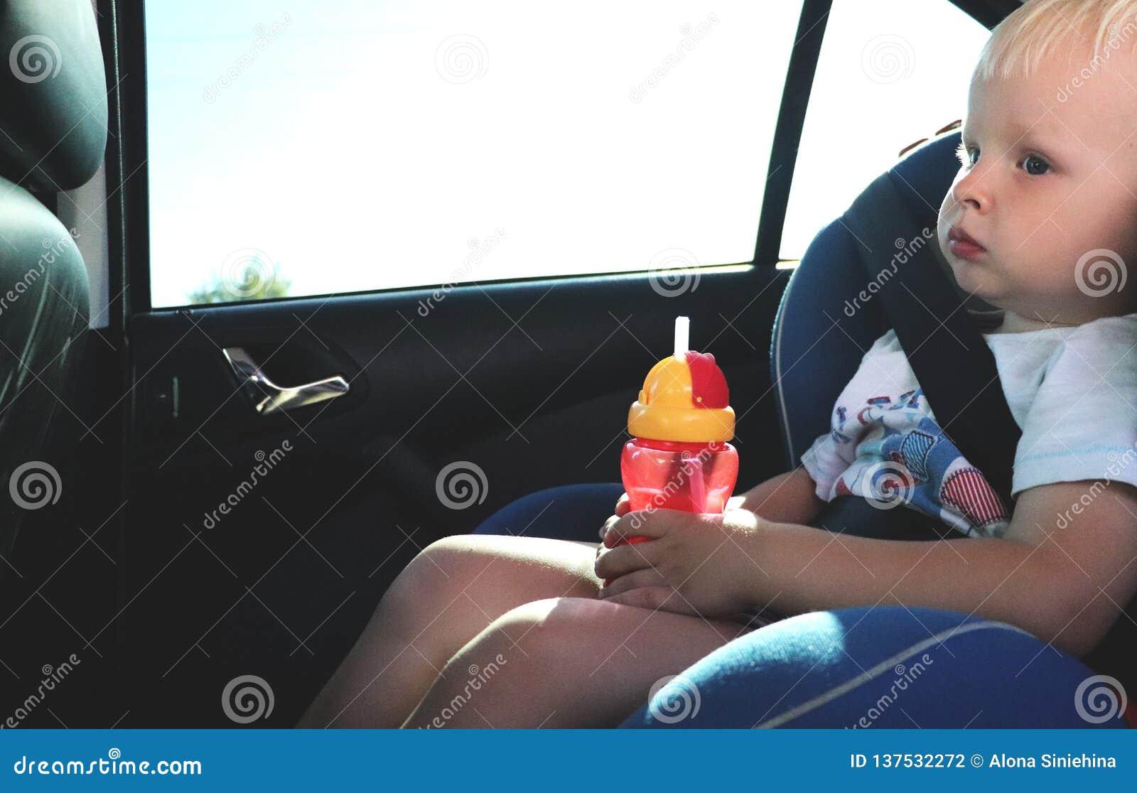 Portret van de leuke zitting van de peuterjongen in autozetel De veiligheid van het kindvervoer