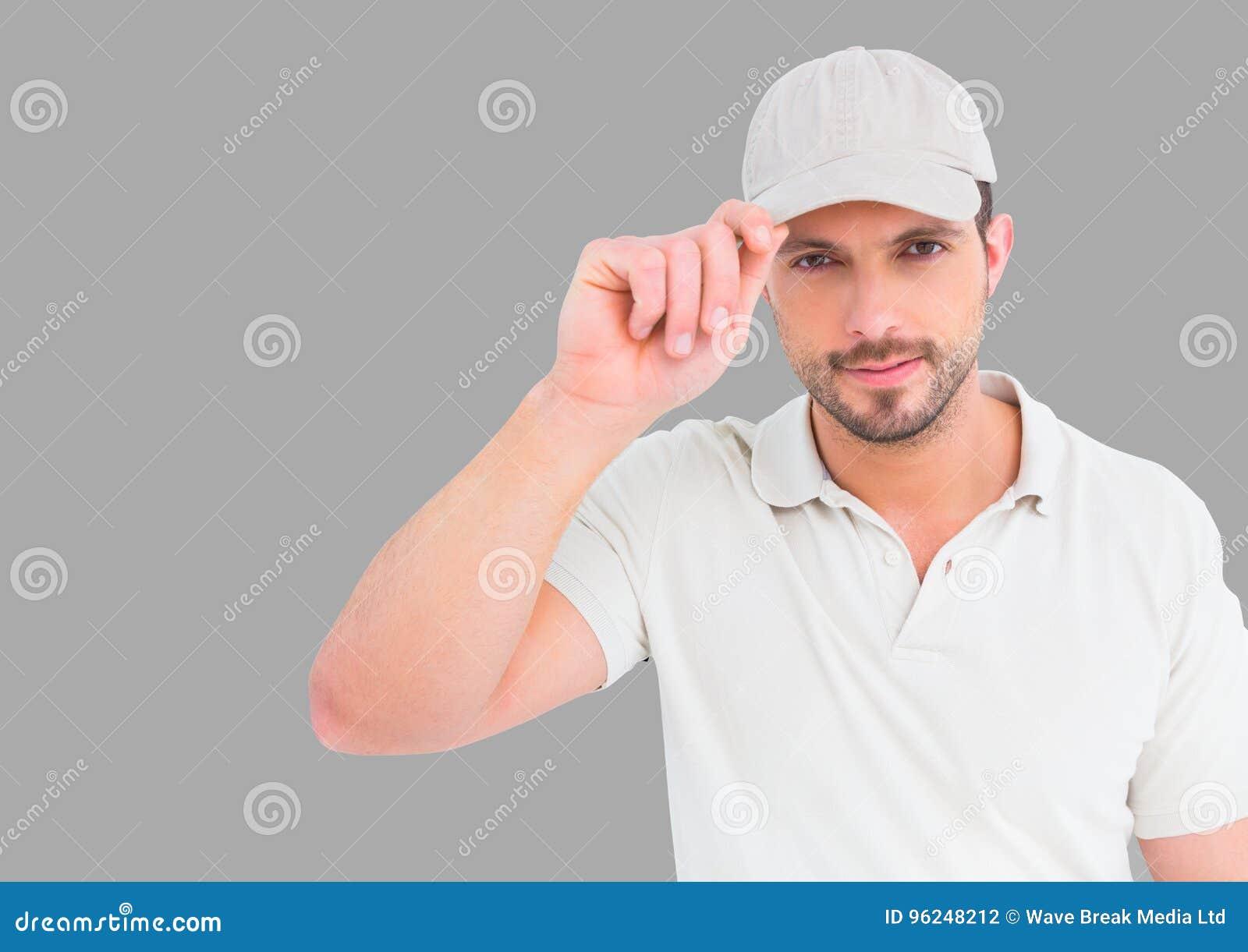 Portret van de Mens die GLB met grijze achtergrond dragen