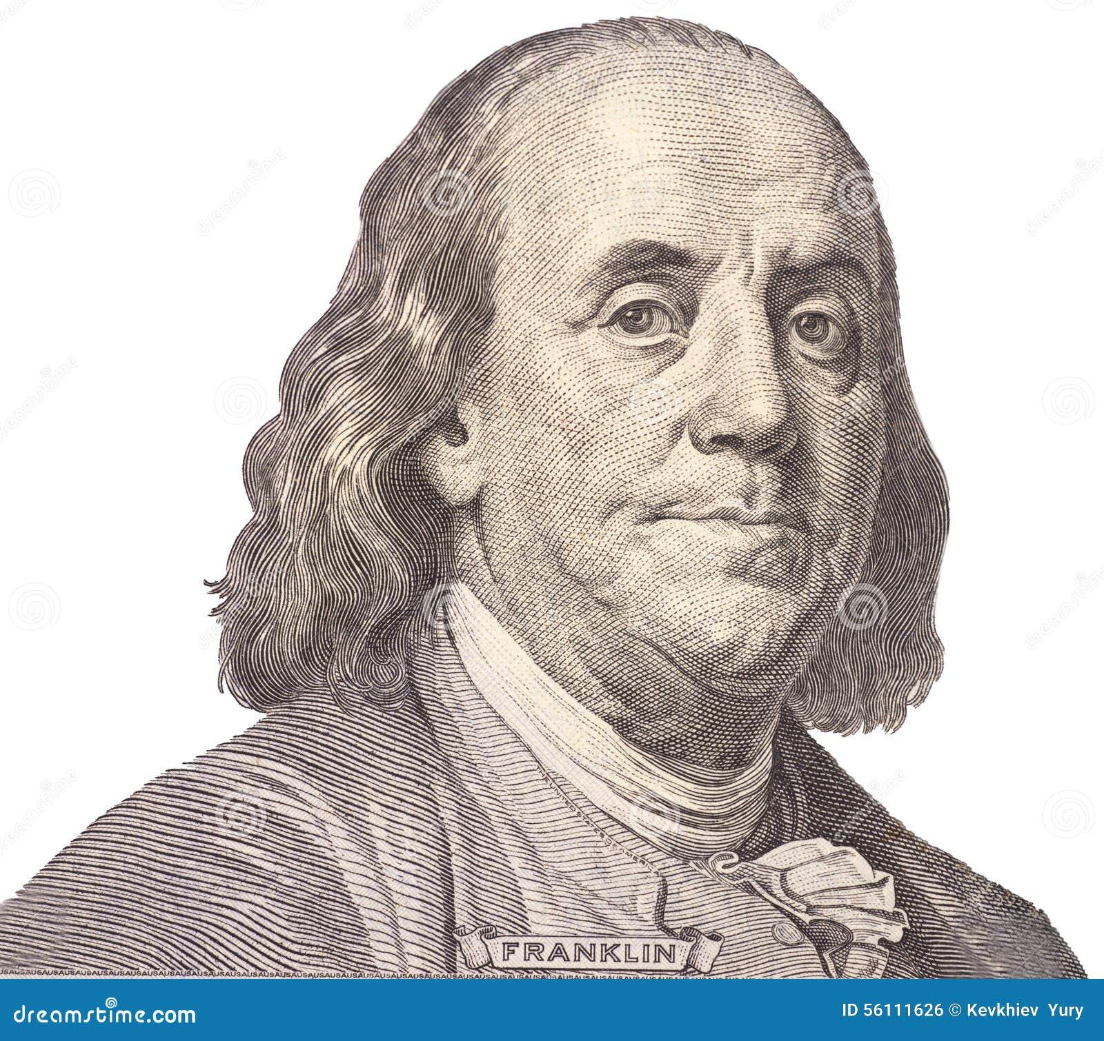 Portret van de staatsman, de uitvinder, en de diplomaat Benjamin Franklin van de V S President Benjamin Franklin
