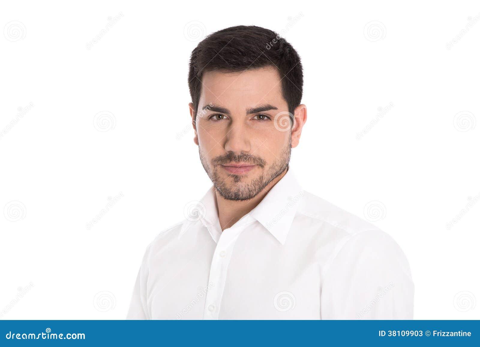 Portret van de succesvolle aantrekkelijke bedrijfsdiemens op wit wordt geïsoleerd.