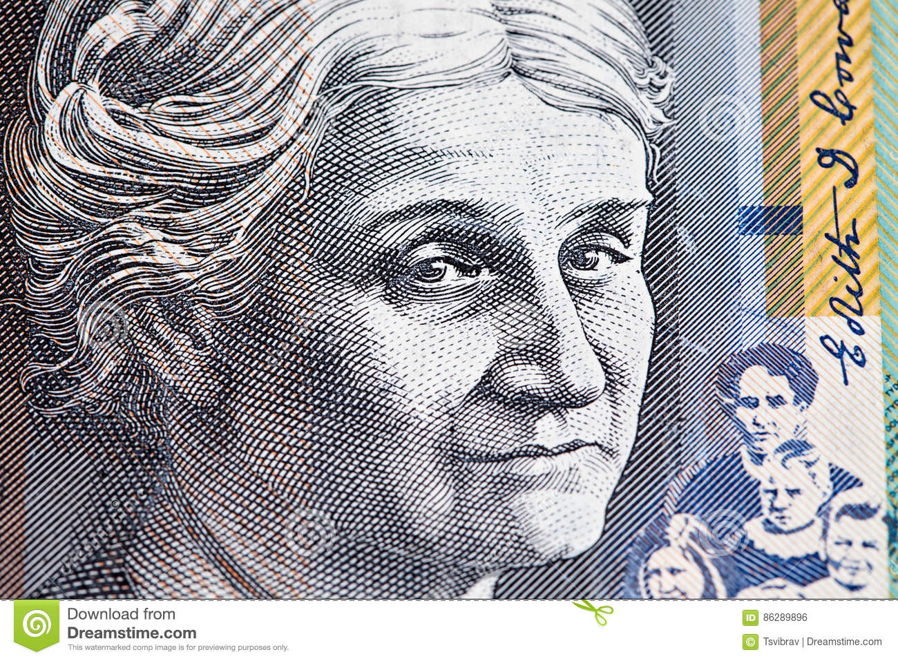Portret van Edith Cowan - de Australische close-up van de 50 dollarrekening