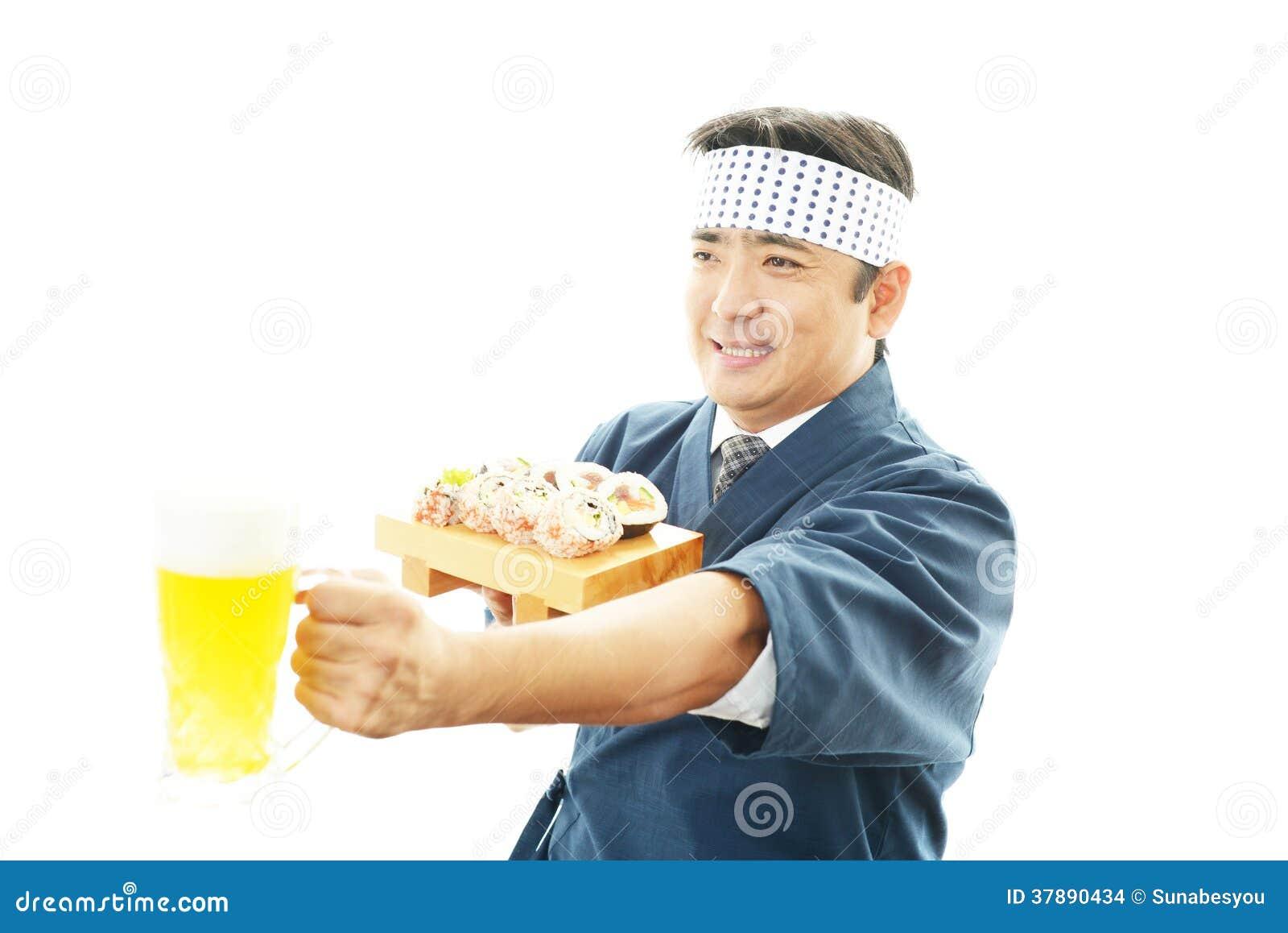 Portret van een Japanse chef-kok