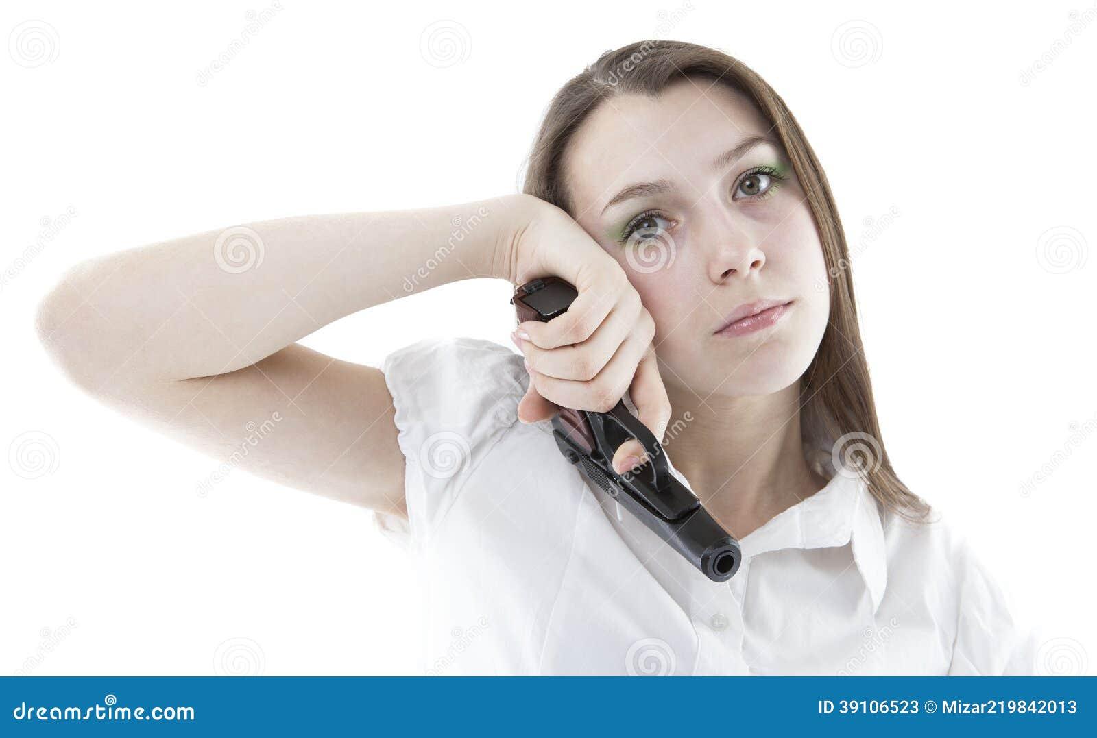 Portret van een meisje met pistool