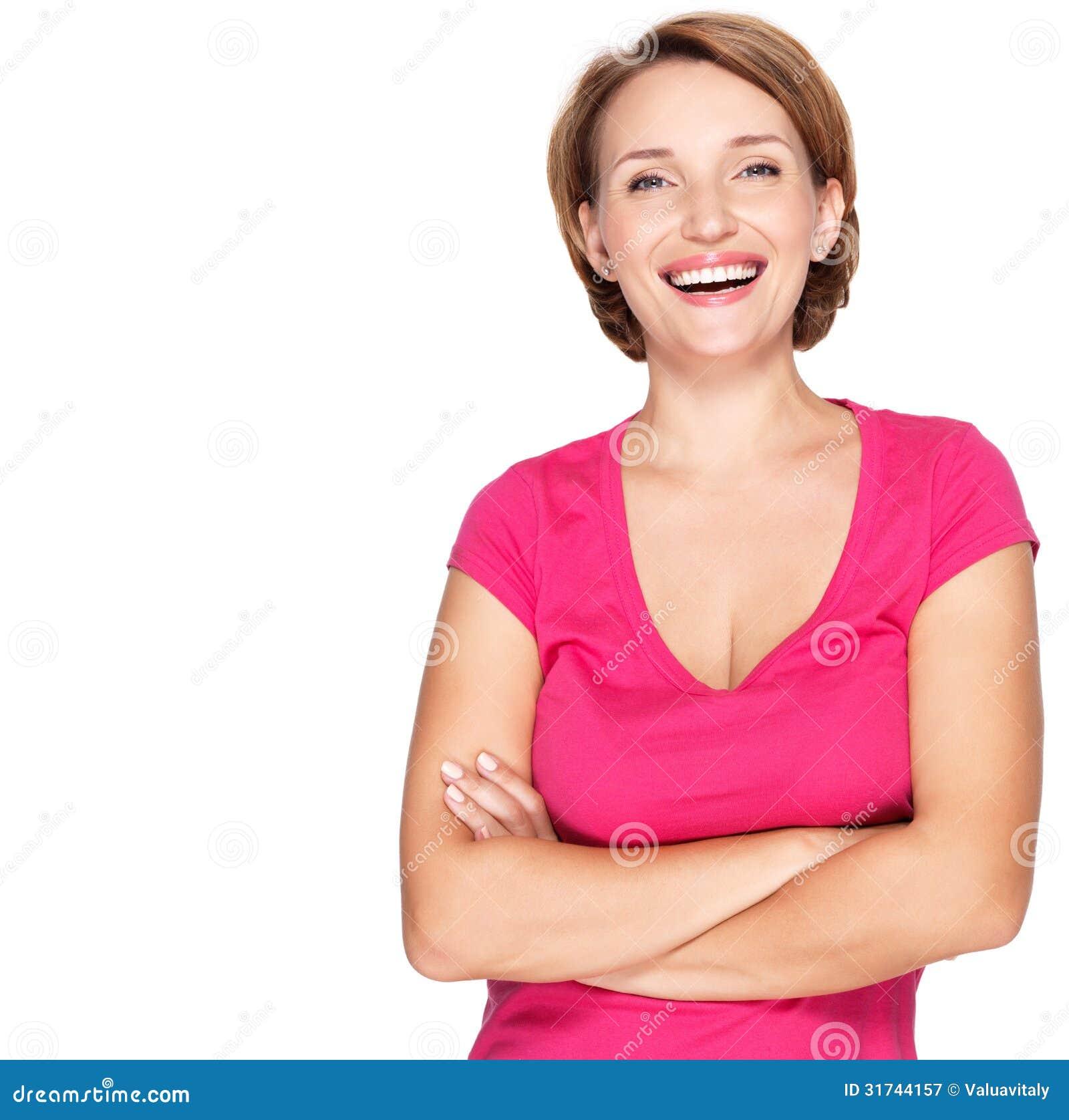 Portret van een mooie jonge volwassen witte gelukkige vrouw