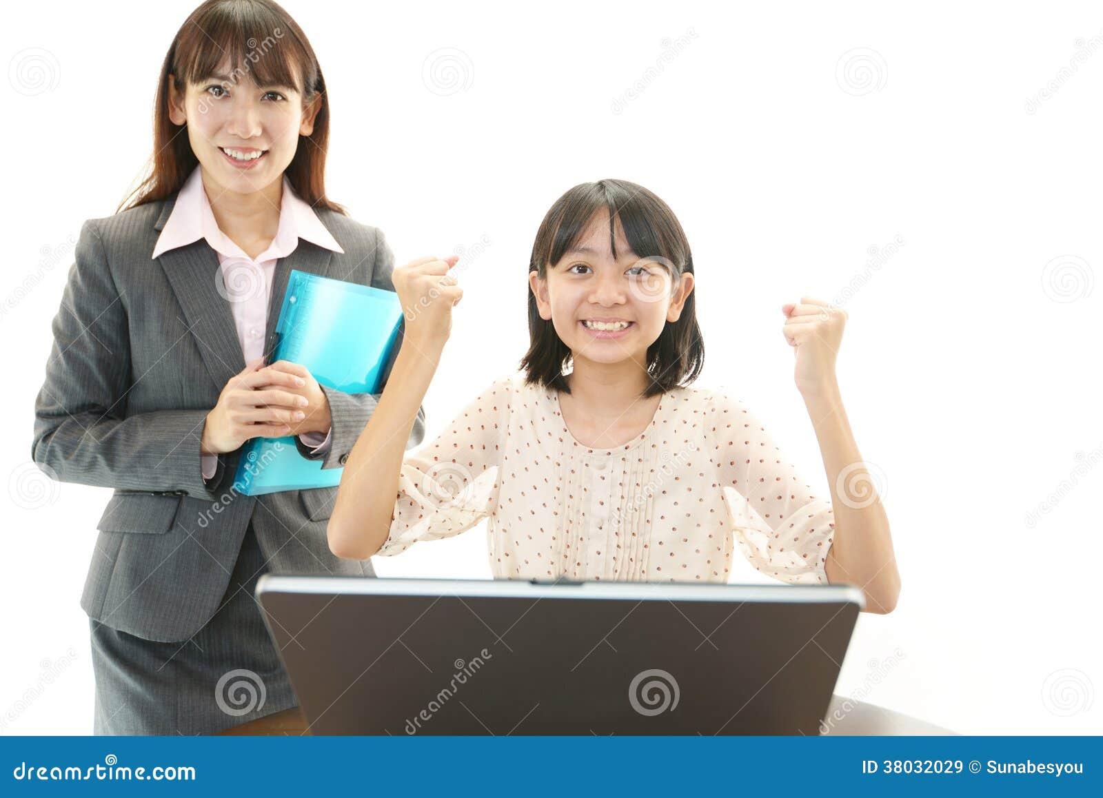 Portret van een student met een leraar