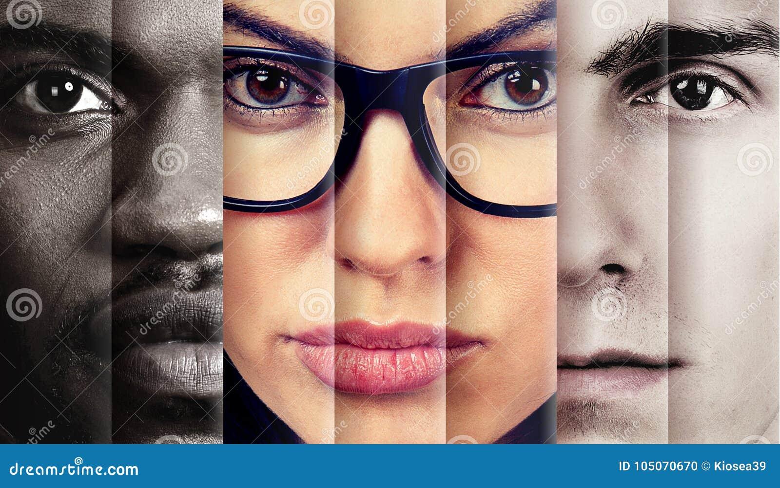 Portret van het ernstige kijken drie mensen twee mannen en een vrouw