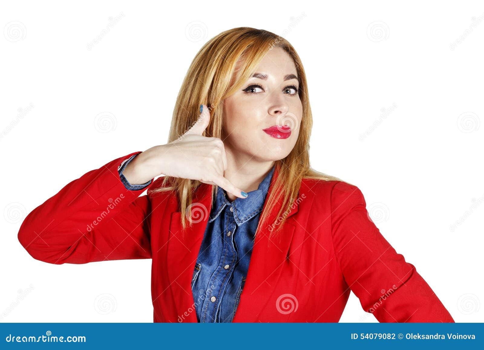 Portret van het jonge bedrijfsvrouw tonen die handteken tonen als