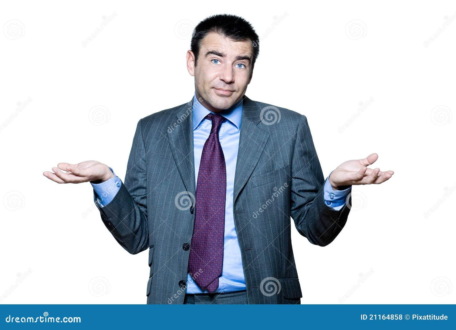 Portret van het verwarde rijpe mens gesturing
