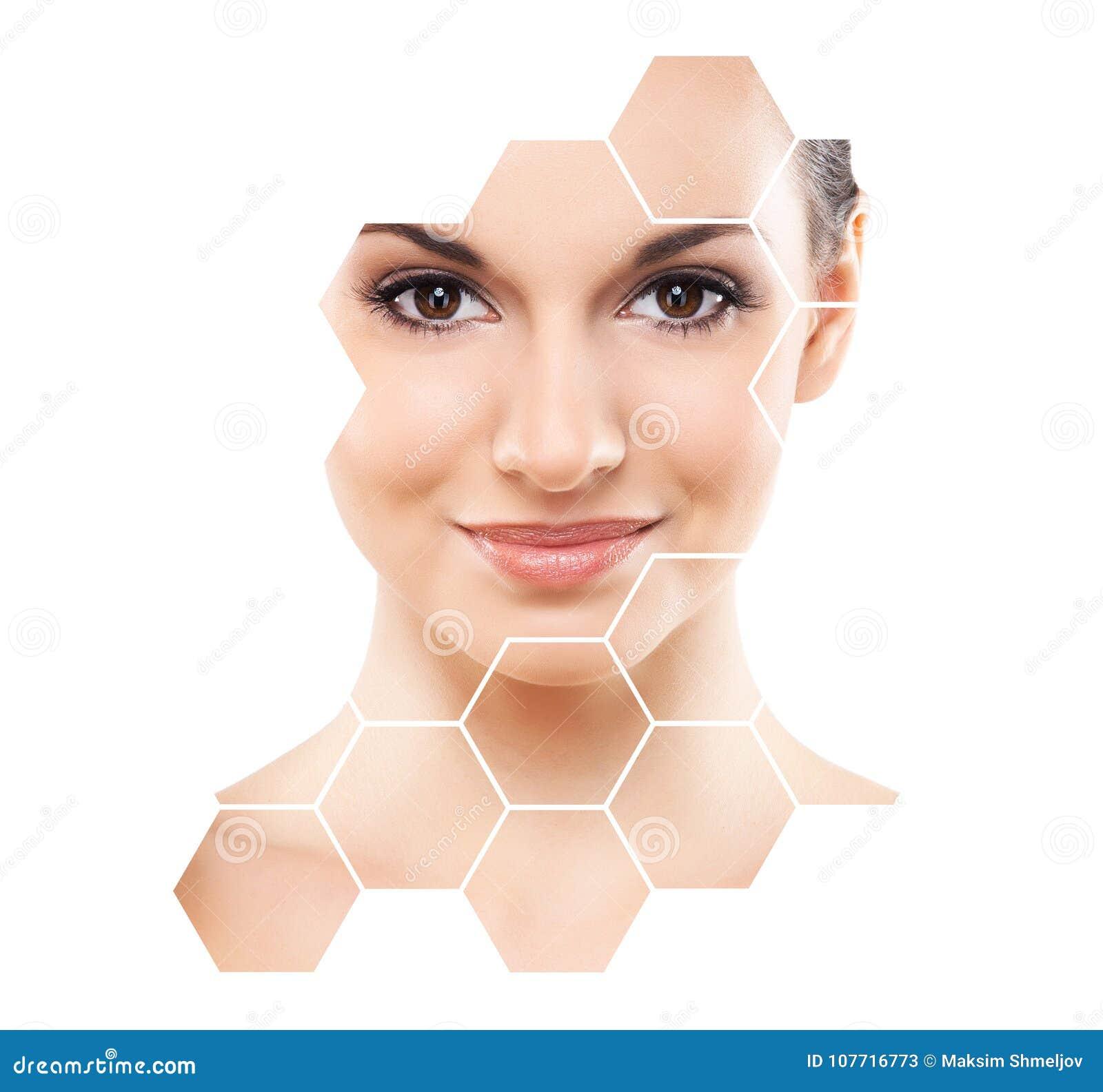 Portret van jonge, gezonde en mooie meisjesplastische chirurgie, huid, kuuroord, schoonheidsmiddelen en geneeskundeconcept die op