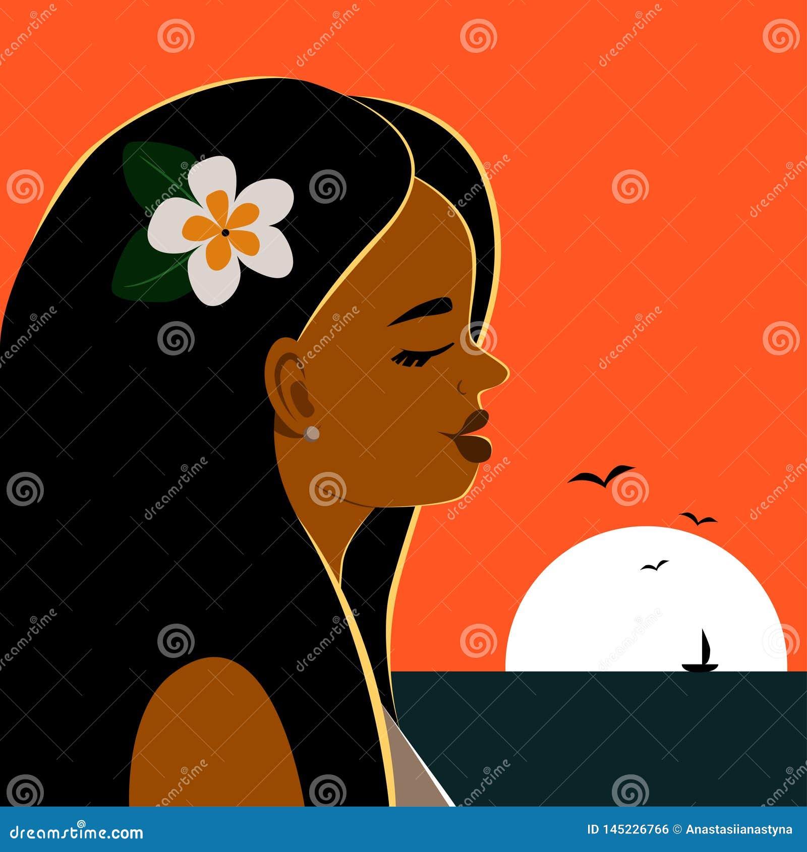 Portret van mooi zwart-haired meisje