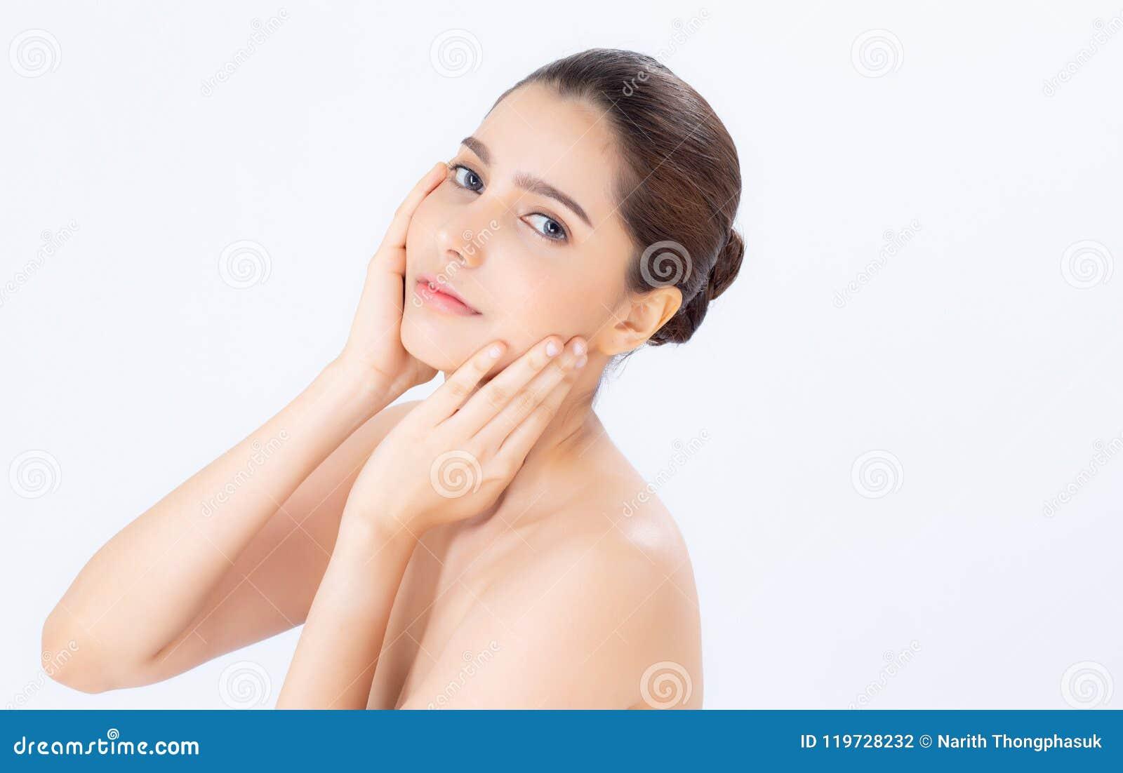 Portret van mooie vrouwenmake-up van schoonheidsmiddel, aantrekkelijk de aanrakingswang van de meisjeshand en glimlach
