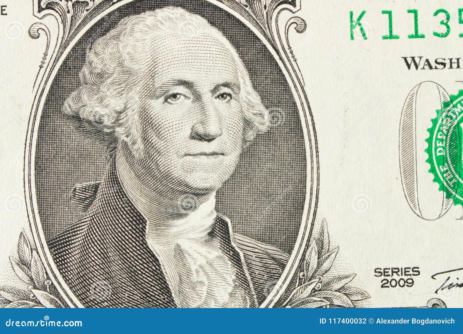 Portret van President George Washington op 1 dollarrekening sluit