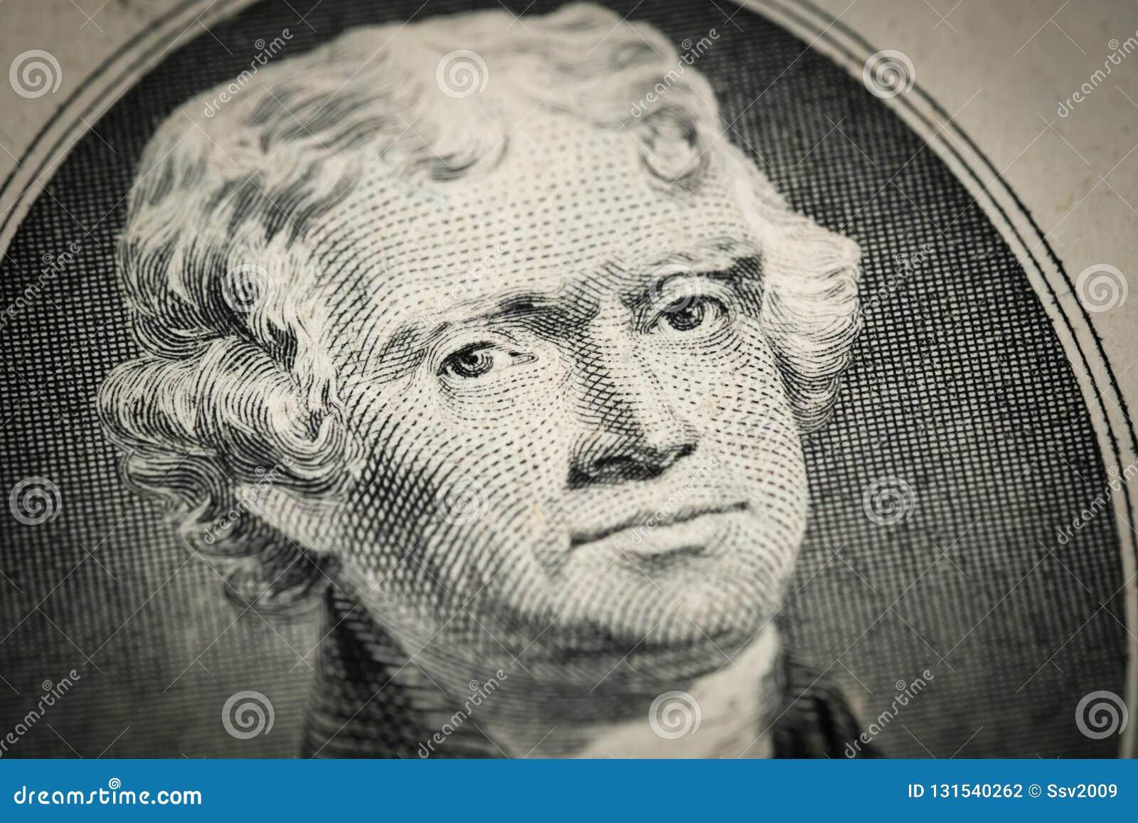 Portret van President Thomas Jefferson portret op twee 2 Amerikaanse dollarrekening Macro dichte omhooggaande mening