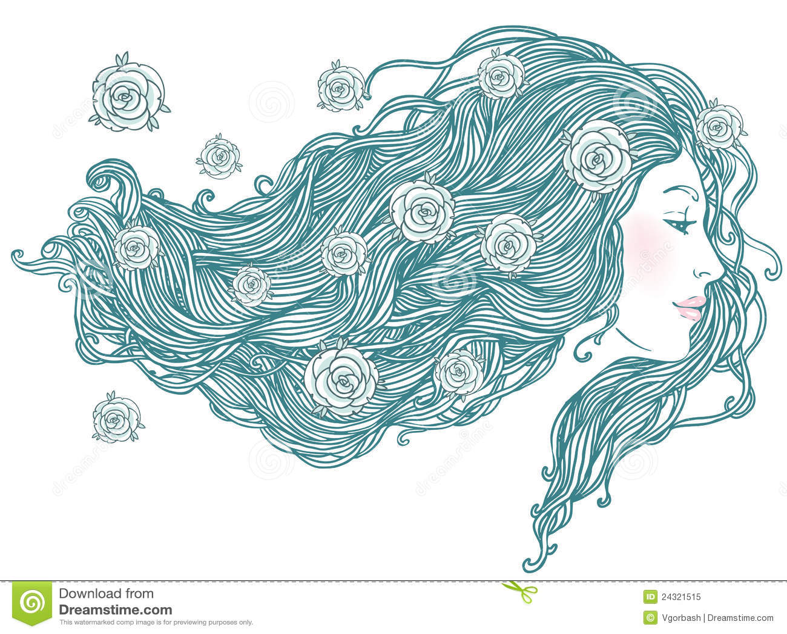 Portret van vrij jonge vrouw met lang haar