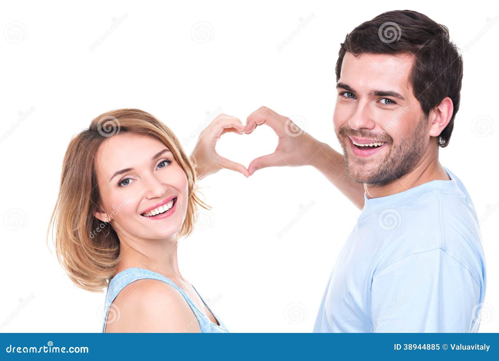 Portret van vrolijk glimlachend paar.