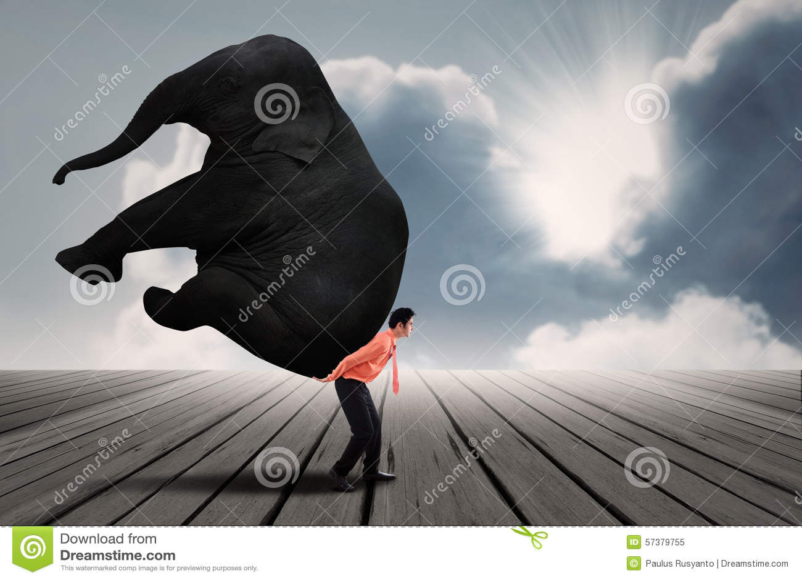Portret van zakenman die zware olifant dragen