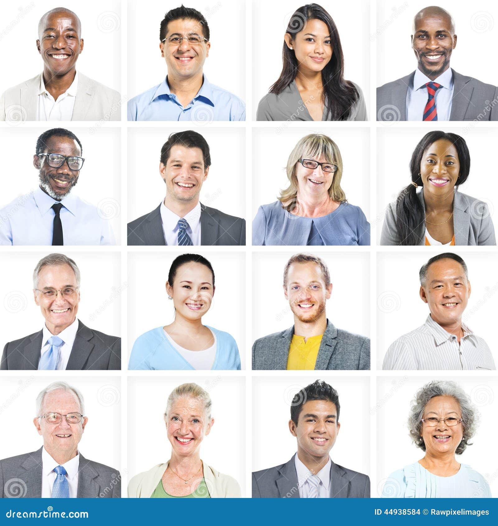 Portret Wieloetniczni Różnorodni ludzie biznesu