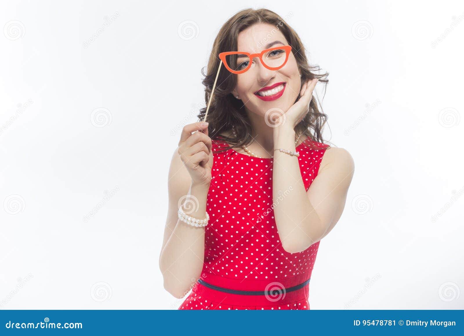 Portret Zmysłowa Śmieszna Kaukaska brunetka