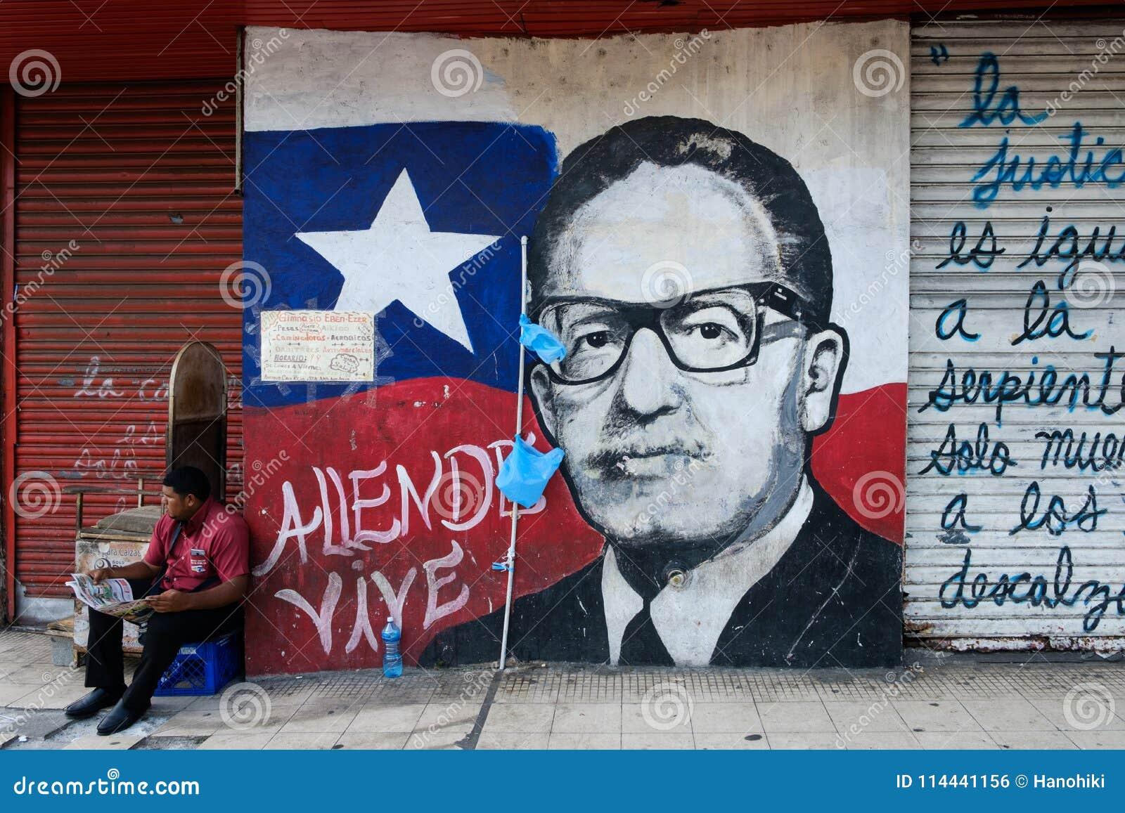 Portreta obraz były prezydent Chile, Salvador Allende