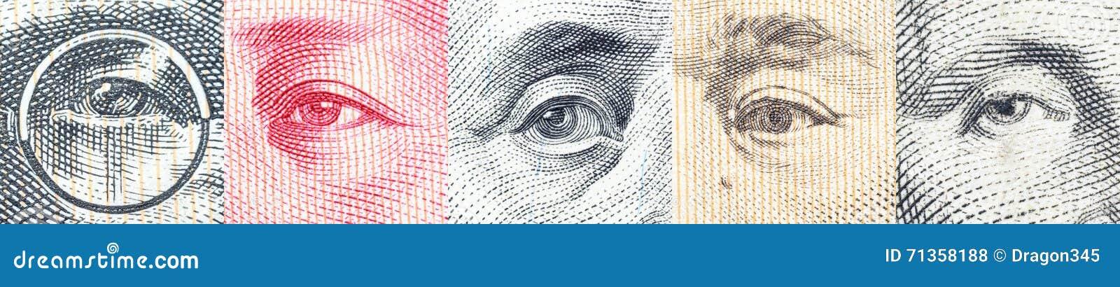 Portretten/beelden/de ogen van beroemde leider op bankbiljetten, munten van de meest dominante landen in de wereld