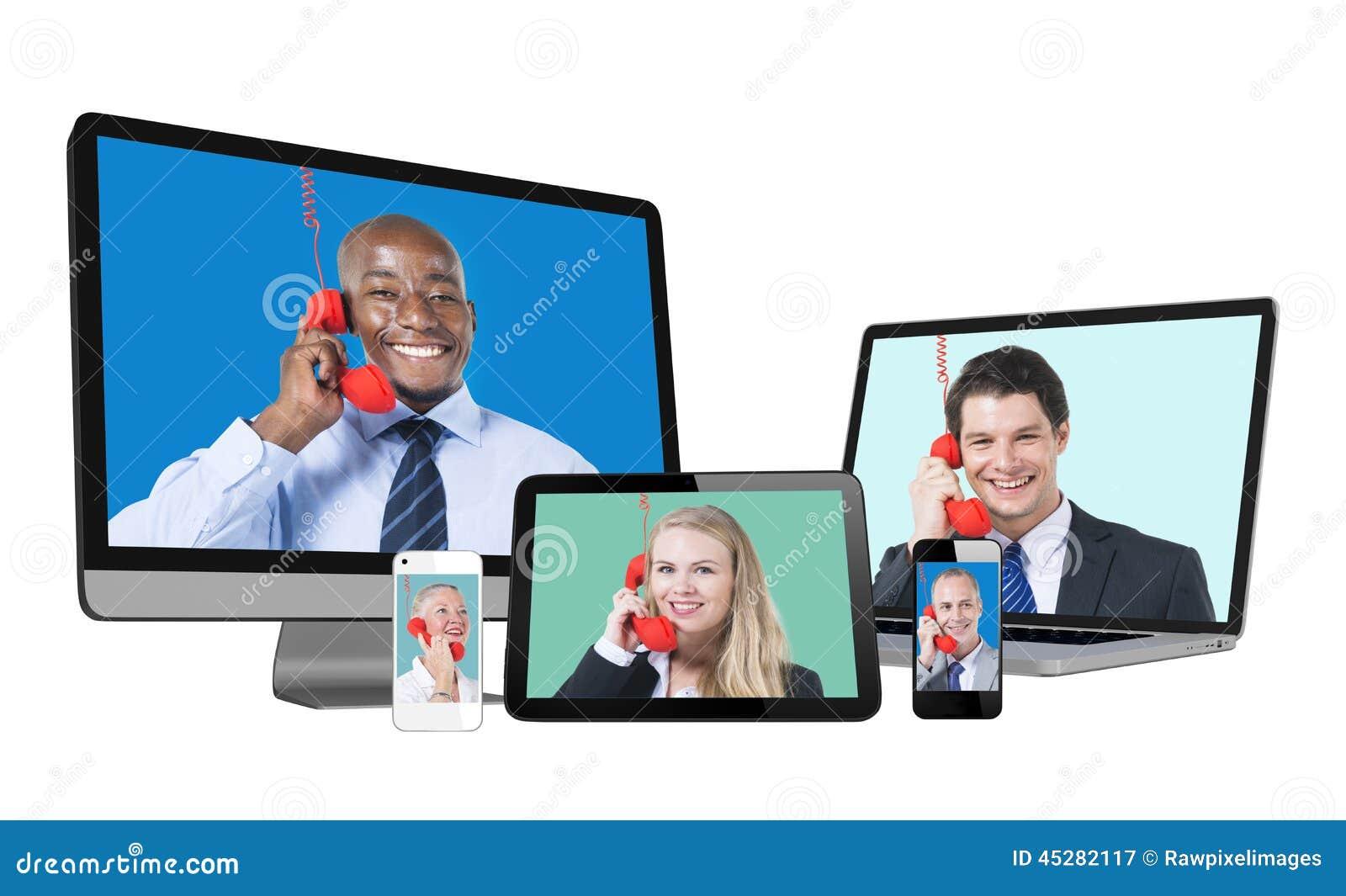 Portretten van Diverse Mensen op het Digitale Apparatenscherm