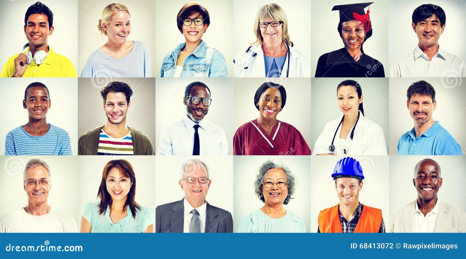 Portretten van het Multi-etnische Gemengde Concept van Beroepenmensen