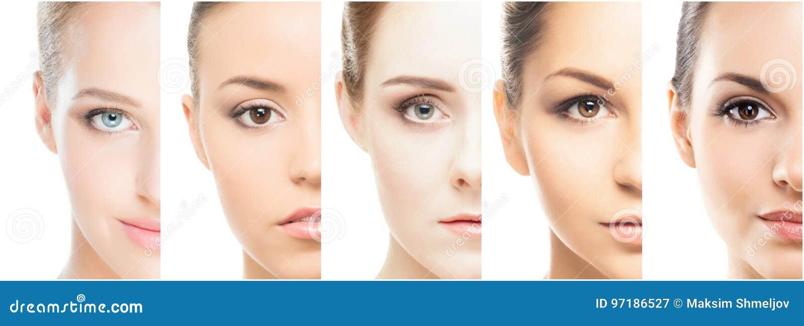 Portretten van jonge vrouwen in make-up