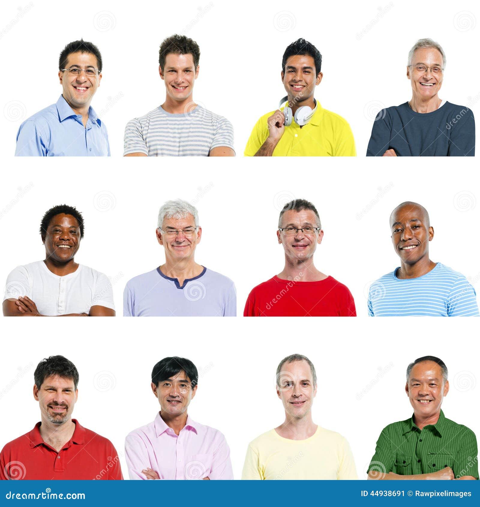 Portretten van Multi-etnische Diverse Vrolijke Mensen