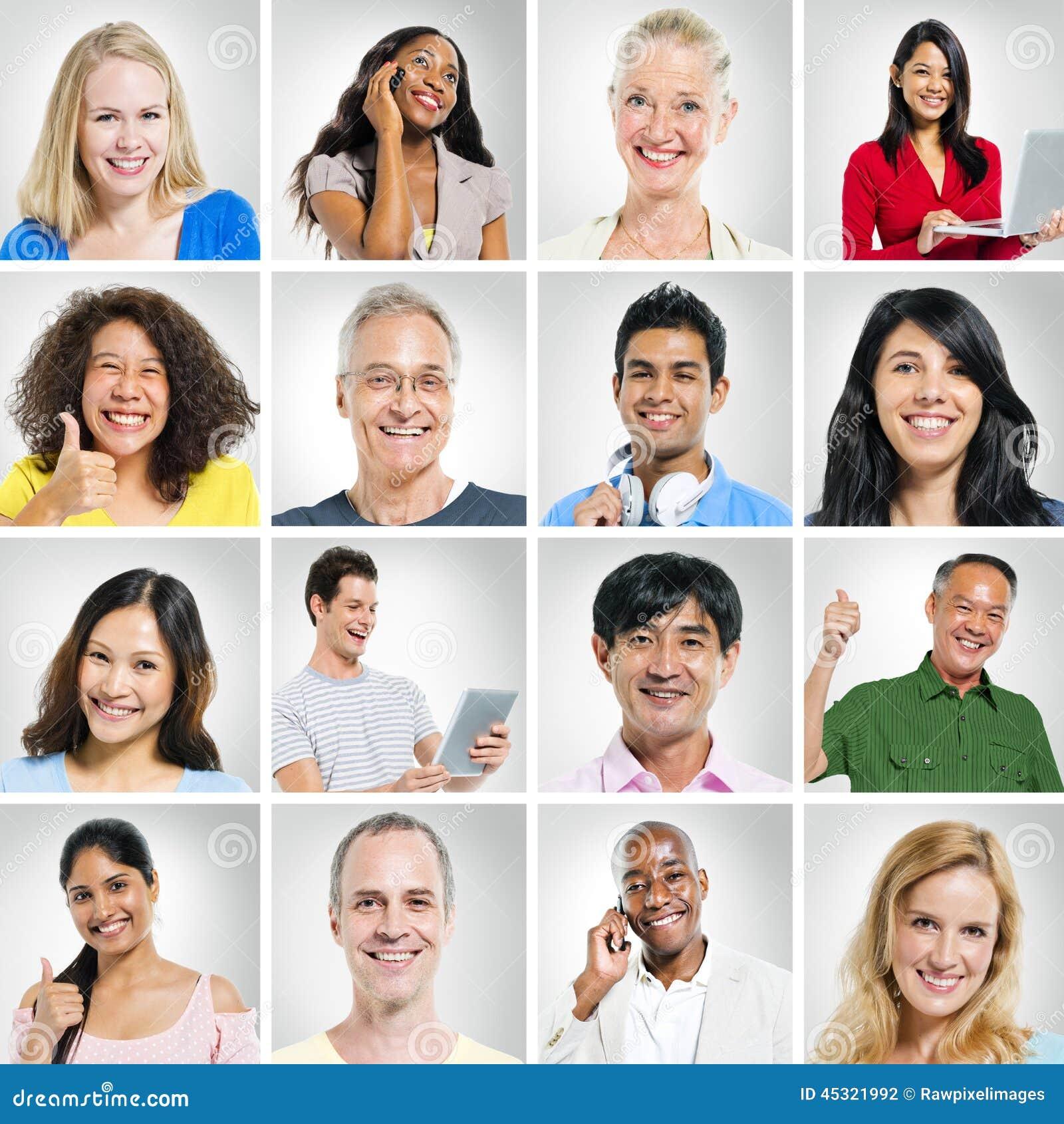 Portretten van Multiehnic-Groep Mensen het Glimlachen