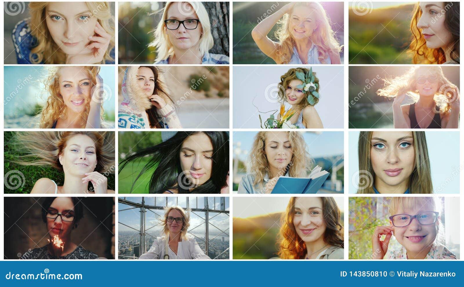 Portrety pomyślne i szczęśliwe kobiety, kolaż fotografie